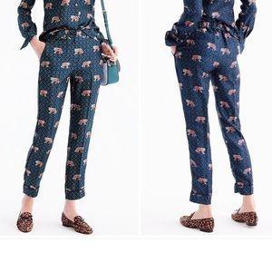 J. Crew Silk Trousers Pants Tiger Print NWOT